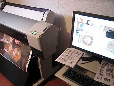 In my art studio I have a large-format Epson printer and computer where I do all the digital work on the prints.